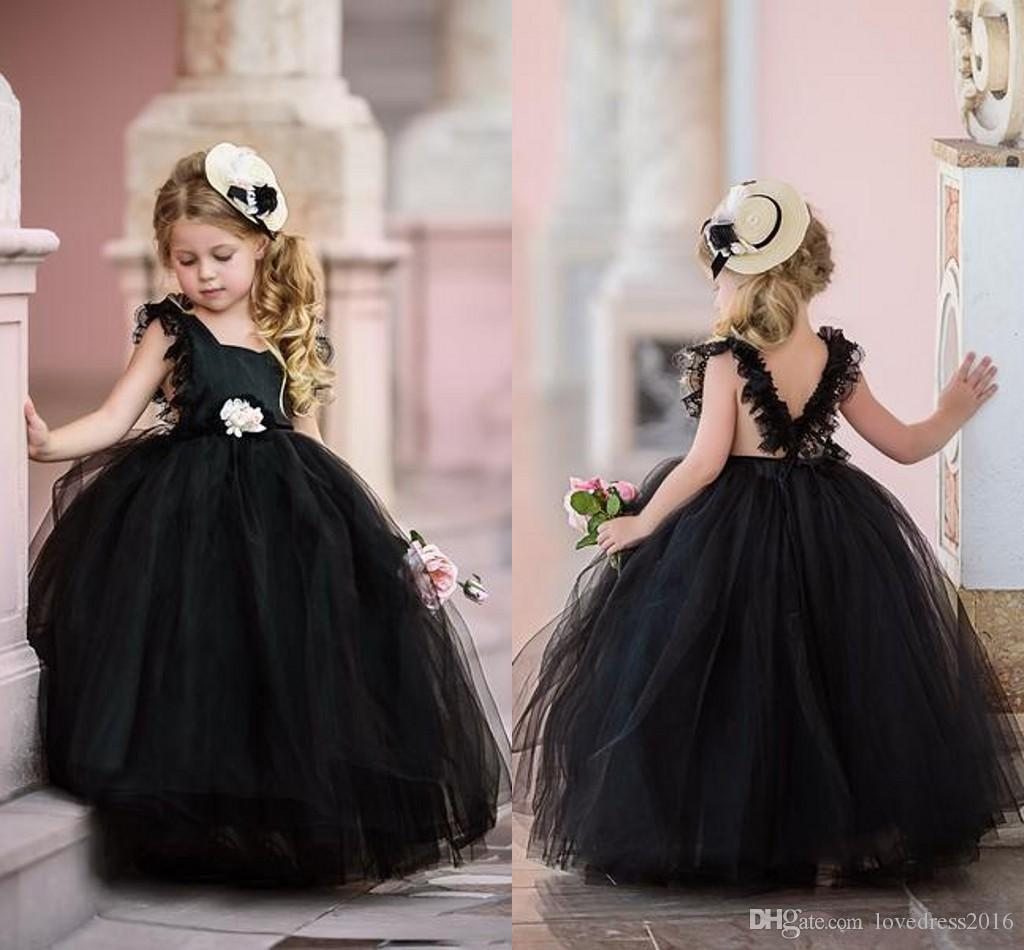 2019 New Backless Little Black Tulle Puffy Flower Girls' Dresses Weddings with Flower Sash Long Princess Party Pageant Gowns