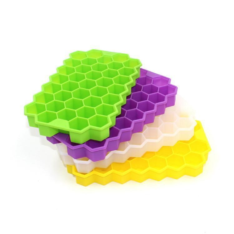 neue 37 Eiswürfel Gefrorene Hornet Nest-Form-Eis-Behälter-Würfel-Silikon-Form-Hersteller Bar-Party-Getränke-Form-Behälter-Pudding-Werkzeug mit Deckel T2I5825