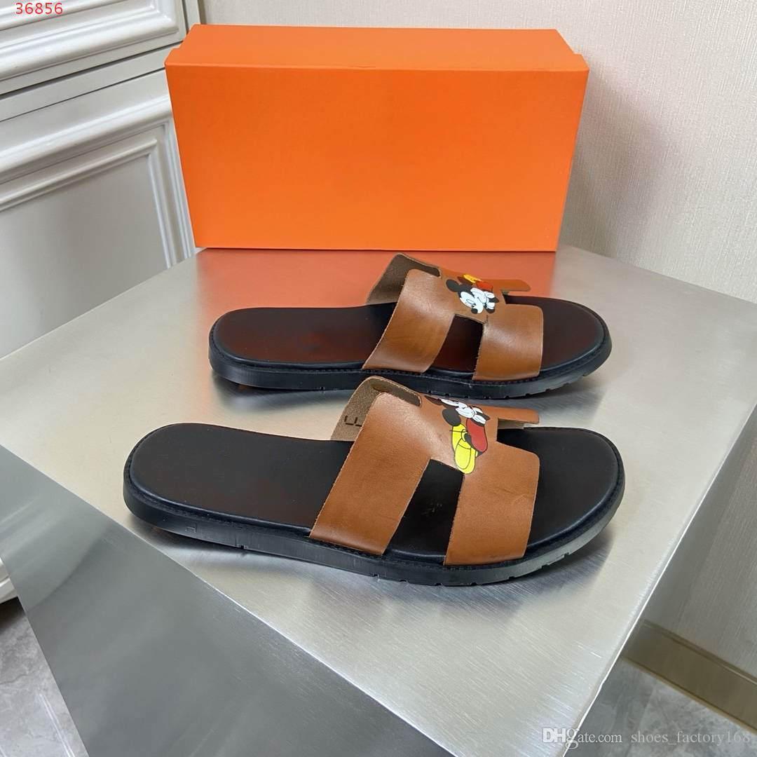 Yeni Erkek moda terlik Siyah ve kahverengi plaj ayakkabıları Toz Torbalı karikatür büyük baş dekorasyon hakiki deri erkek ayakkabıları ile çıkmak