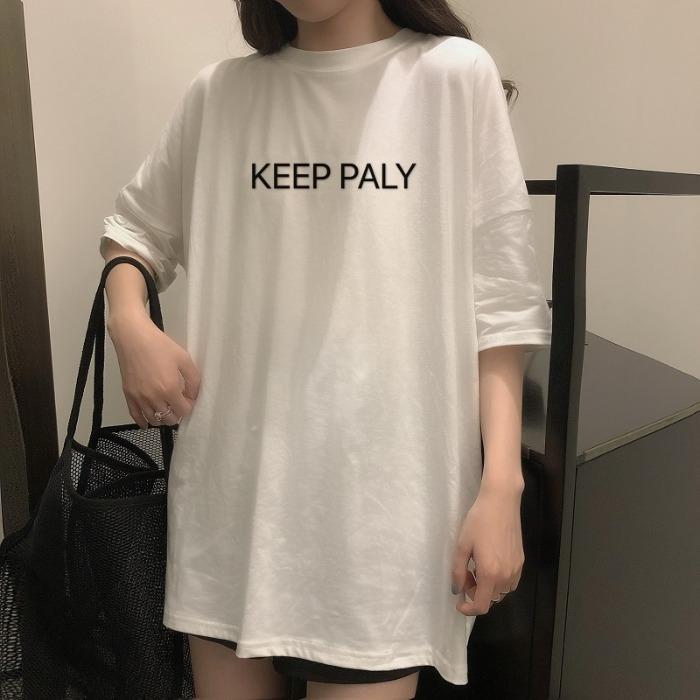 RjvU0 Yaz yeni Koreli üst Coat tarzı üst kanatları gevşek orta uzunlukta parlak kısa kollu tişört kadın tişört yönlü basılmış