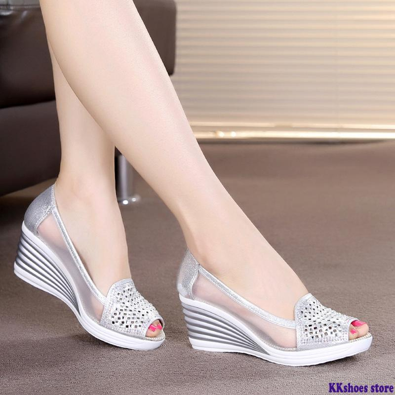 New Women's Summer Fish Mouth Wedge Sandals Shoes Rhinestones Hollow Net Shoes