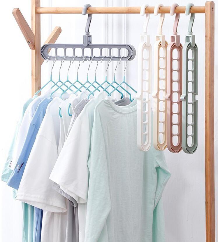 Multi-port Clothing Rack Flodable Multifunctional Magic Clothes Hangers Organizer Space Saving Hanger Racks Plastic Scarf Hangers LSK204
