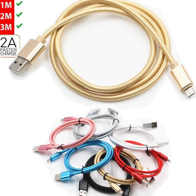2.1A Treccia in metallo ininterrotto tipo C USB / Micro USB Cavo Cavo Cavo per Samsung S20, S20Plus S9 S8 S7 S6 Edge Android 1M 3FT / 2M6FT / 3M 10FT