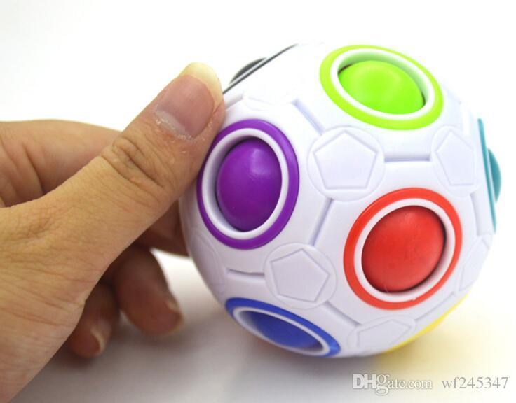 Magic Rainbow Ball Cube Magic Ball Shaped Magic Football Creative Mini Cube Educational Toys FREE SHIPPING