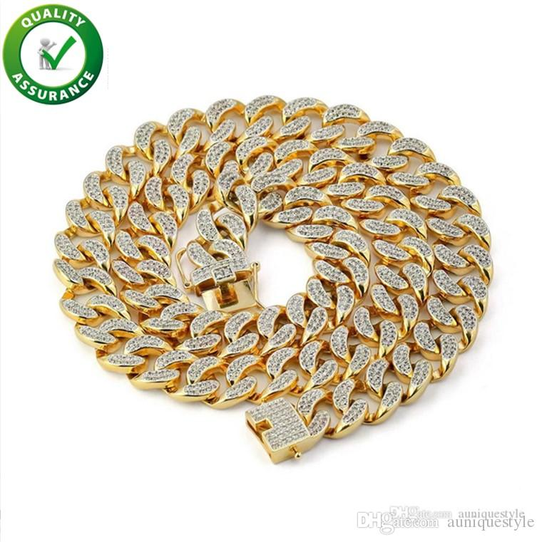 Hip Hop Jewelry Cuban Link Chain Hiphop Mens Necklace Iced Out Chains Luxury Designer Diamond Miami Curb Necklaces Gold Rapper Accessories