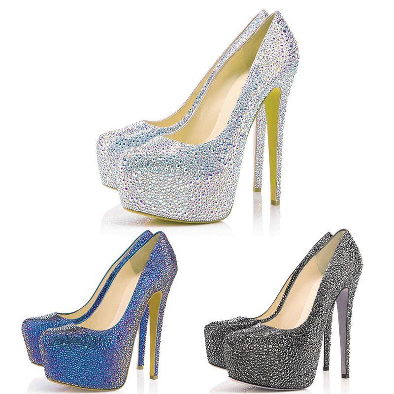 El nuevo diseñador de zapatos de las bombas de boda Brillantes de 16 cm de alto zapatos de los tacones de vestir partido de la plataforma Crystal 35-42