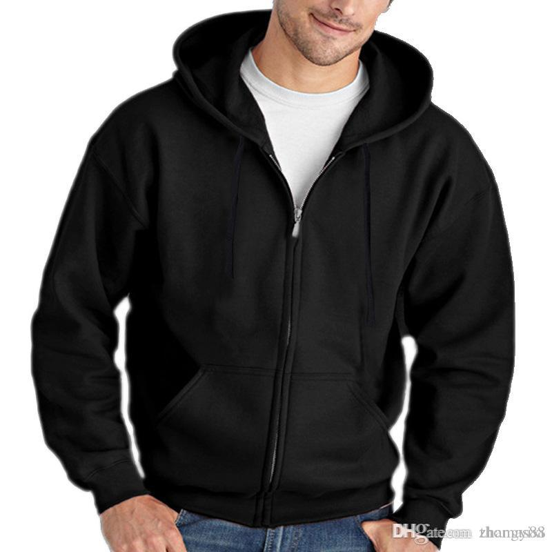 Men Cotton Hoodies Full Zip Long Sleeved Hooded Sweatshirt Fashion Pure Color Autumn Winter All-match Clothes Coat Top Hoodies Male
