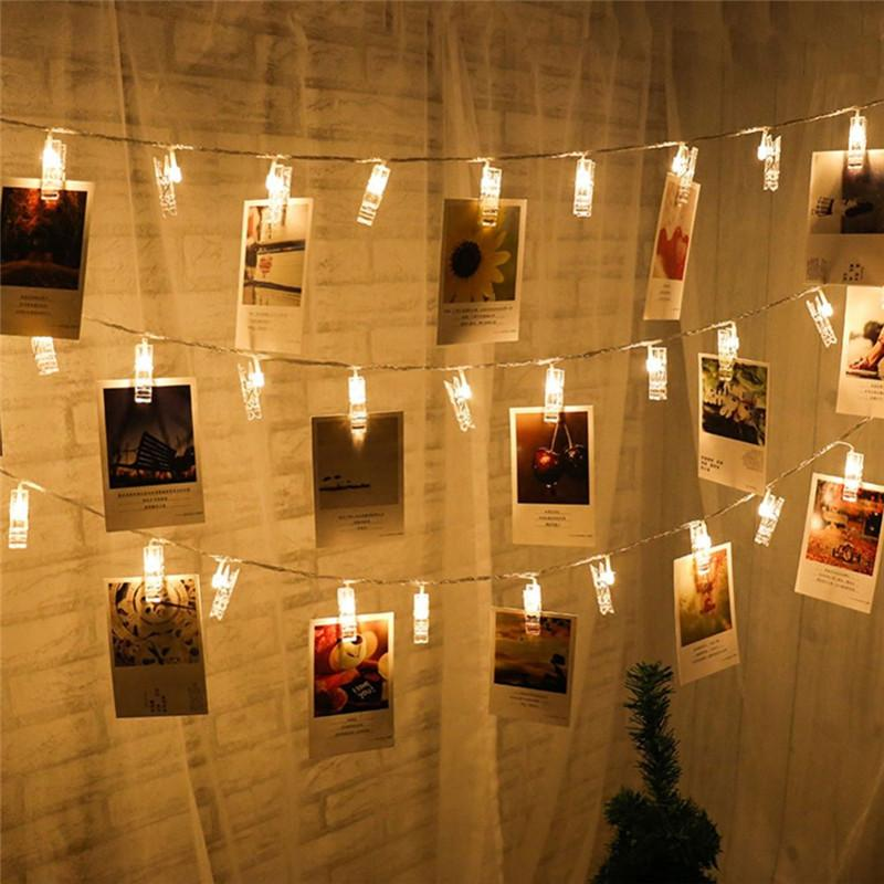 Árvore de Natal Ornamentos estrelado bateria BHomify 1.5M 10 LED s clip Fada s Decorações de Natal