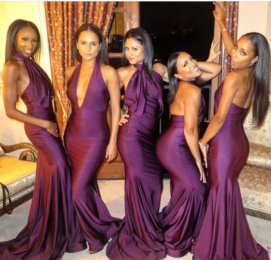 2020 Sexy Lange Bruidsmeisjes Jurken Maid of Honour V-hals Vloer Lengte Bruiloft Toga Backlesss Plus Size Avond Wear