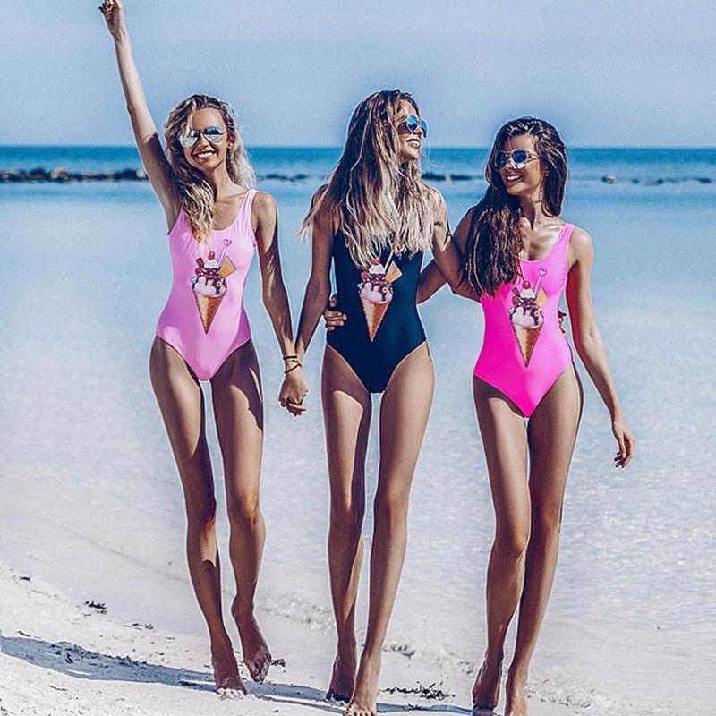 One Piece das mulheres Monokini 2018 New Ice Cream Bikini Swimwear Suits Push-Up Swimsuit Beachwear banho terno de natação para as Mulheres