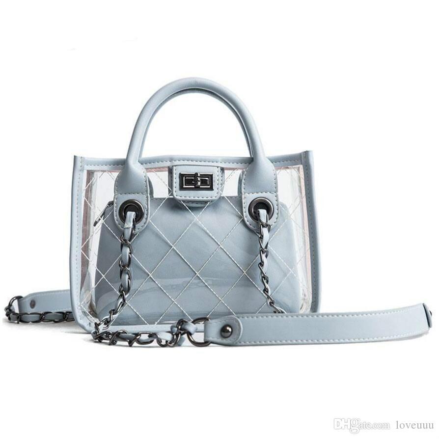 женщины желе BAG транспаранта сумки женской новый пакет дикого диагональная цепь ребенок женского плечо сумки