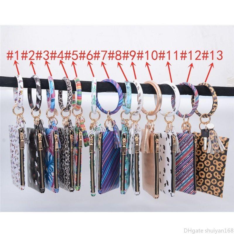 Girassol pulseira Chaveiro Carteira Keychain Bangle Cactus Impresso Monogrammed Bolsa da embreagem Chaveiro Carteira Acessórios fácil de transportar Jóias