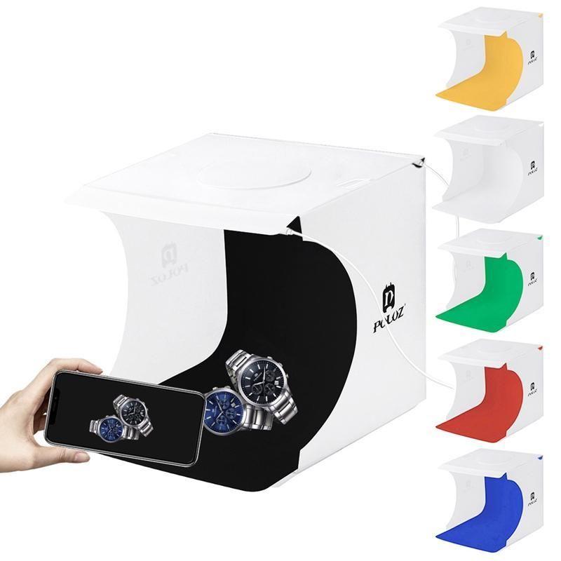 PULUZ 20cm Inclure 2 panneaux LED Portable Folding 1100LM Lumière d'éclairage Photo Studio Tente Box Prise de vue Kit avec 6 couleurs Backdrops