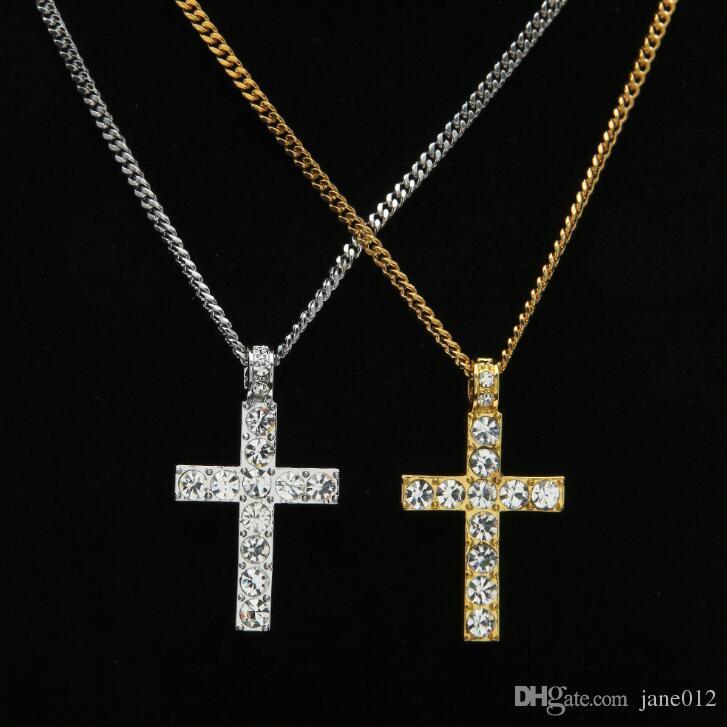 مجوهرات الهيب هوب الكلاسيكية مثلج خارج الذهب / فضي اللون سلاسل الكوبي حجر الراين الصليب المعلقات قلادة للرجال شحن مجاني