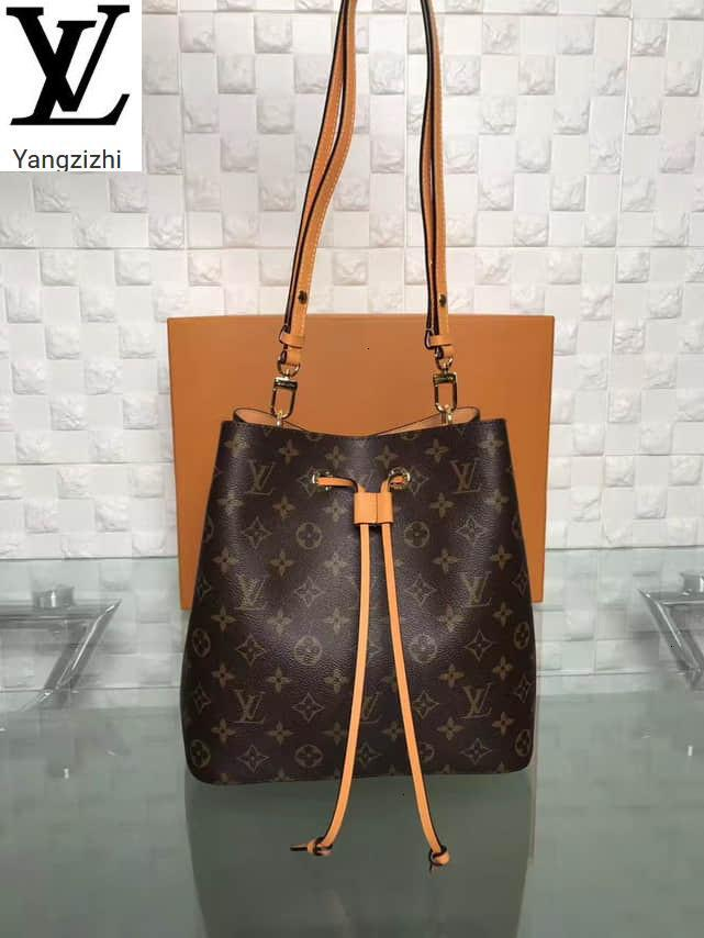 Castanha Flor Yangzizhi New Old bezerro Neonoe Bucket Bag M43430 Bolsas Bolsas Top Alças Shoulder Bags Cruz Evening Totes saco de corpo