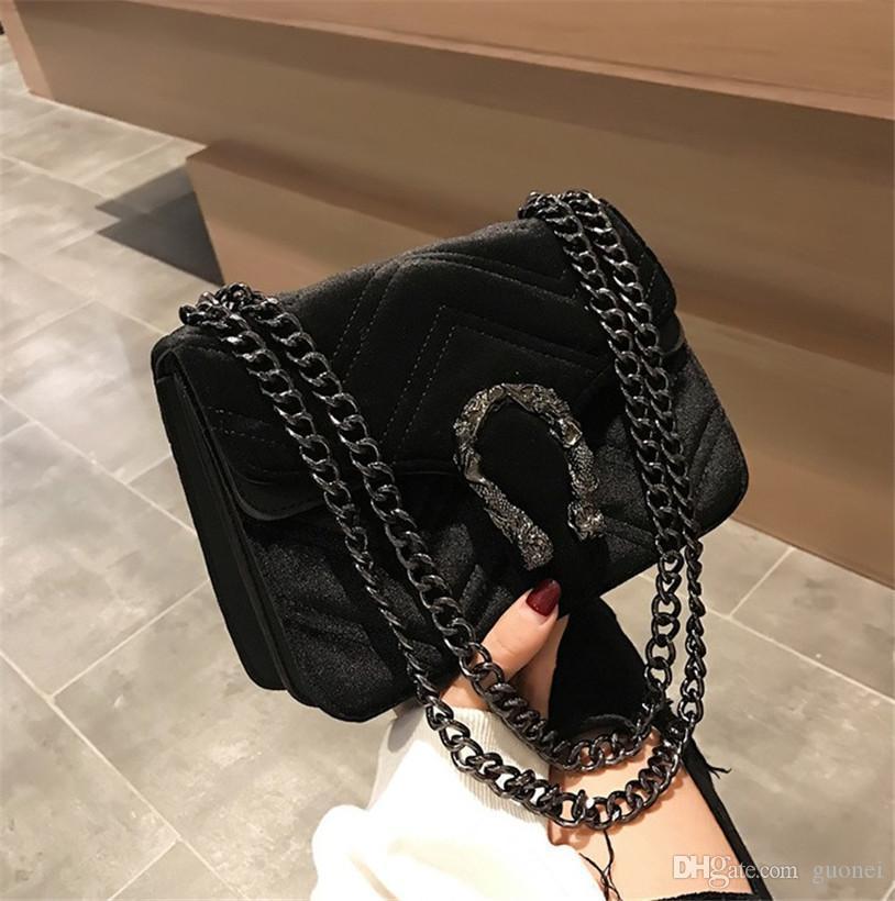 Designer- de lujo las mujeres del bolso de Invierno Nueva cabeza de serpiente bloqueo de terciopelo clásico del bolso bordado línea ondulada de las mujeres bolso de la cadena temperamento elegante 2