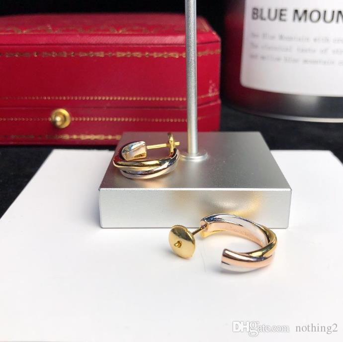 Argent 925 Boucles d'oreilles Tricolor mixtes Bijoux pour le cadeau femmes Boucles d'oreilles avec boîte haute