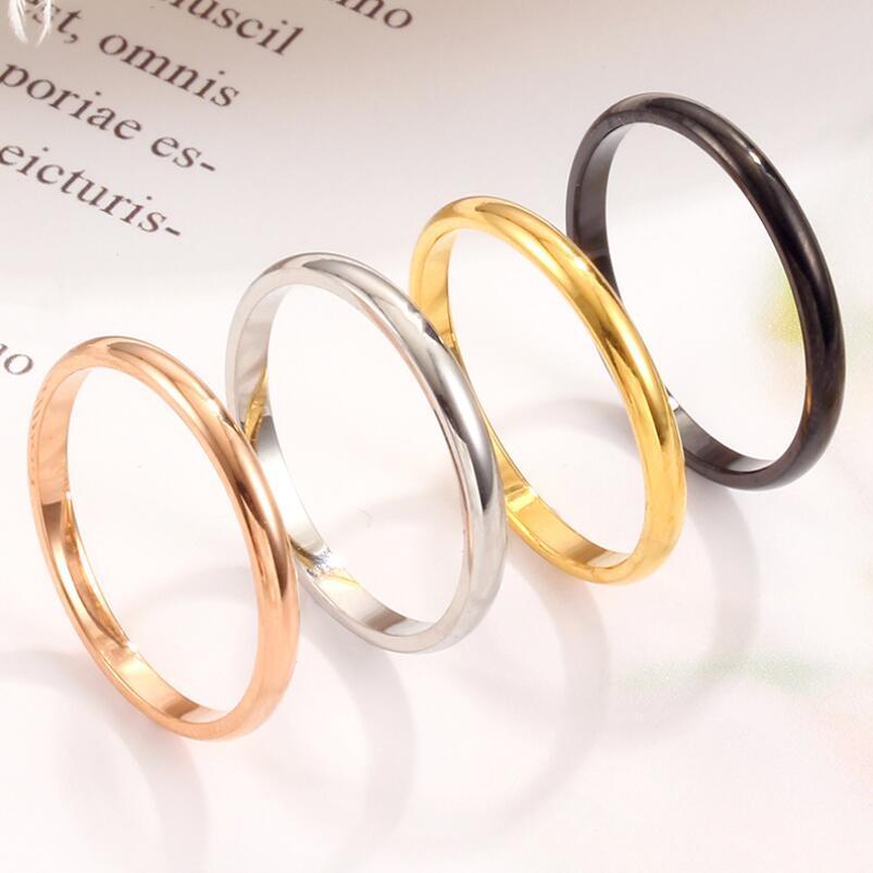 Neue Ankunfts-2mm Edelstahl glänzend Ring 4 Farben Feiner Ordinary MIDI Schlanke Stacking Ringe Paar glückliche Verlobung, Hochzeit Schmuck-Y