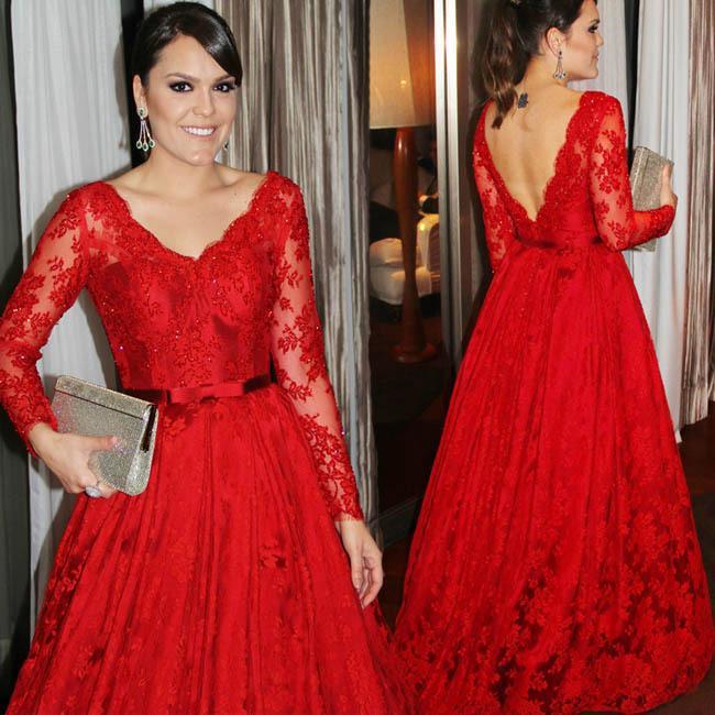 2020 rojo atractivo V cuello el vestido de noche de la madre de la novia con la cinta acanalada satén de las mangas del cordón largo del desfile de la celebridad del vestido formal