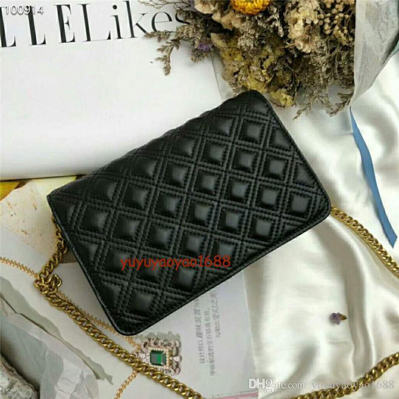 Neue Frauen berühmtes Muster Quer kleine Klappe Designer-Handtasche Platz Taschen Schulter Umhängetasche diagonale Kette Geldbeutel