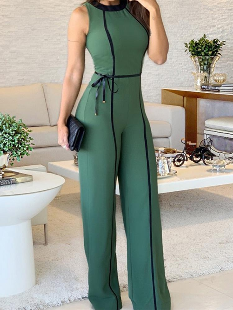 Wide Leg Jumpsuit 2019 Summer O Neck Green Sleeveless Jumpsuit Vacation Elegant Long Playsuit Office Lady Vintage Overalls Y200106