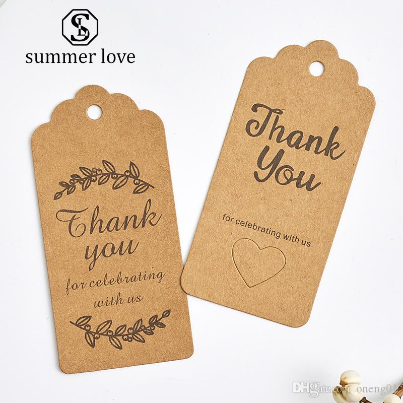 100 Pcs /Lot Thank You Kraft Paper Cards Pretty Design Printing Fower Necklace Earring Hairpin Brooch Handmade Jewelry Packaging
