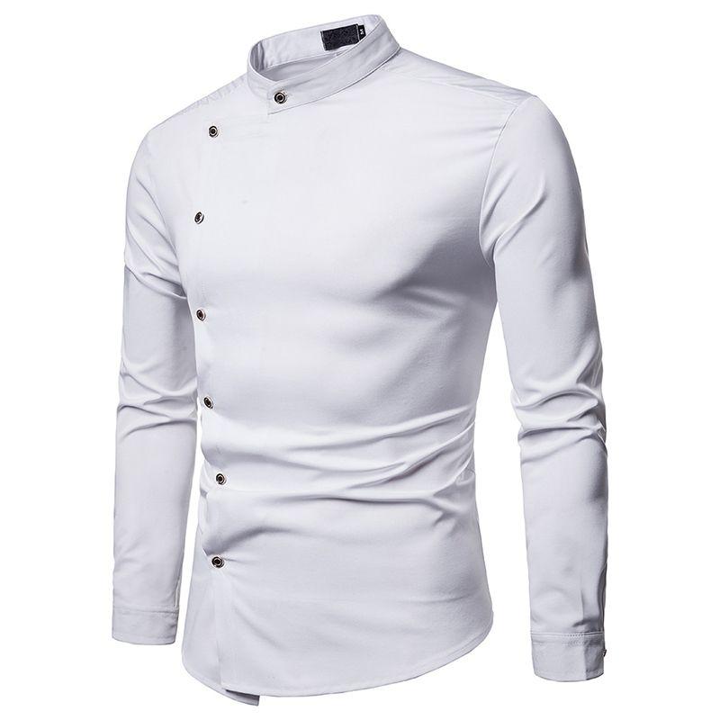 Moda erkek Gömlek Slim Fit erkek Casual Gömlek Uzun Kollu Turn-Aşağı Yaka Resmi Elbise Erkek Giysileri