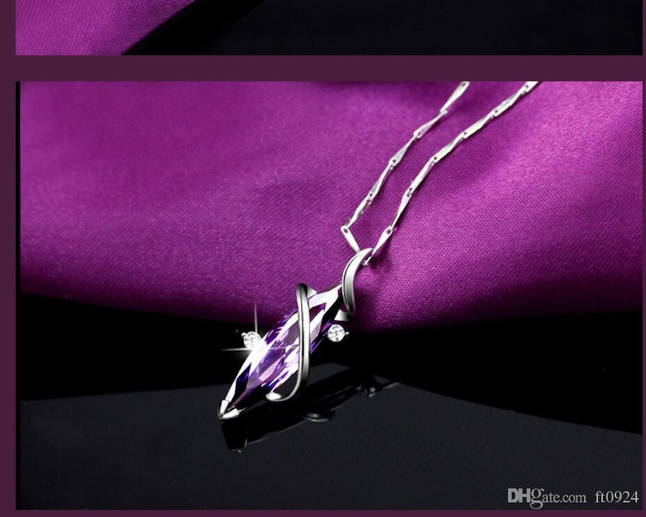 Lady's new designer sells luxurious S925 silver plated clover Amethyst Diamond Necklace Fashion hip-hop short clavicle pendant accessories