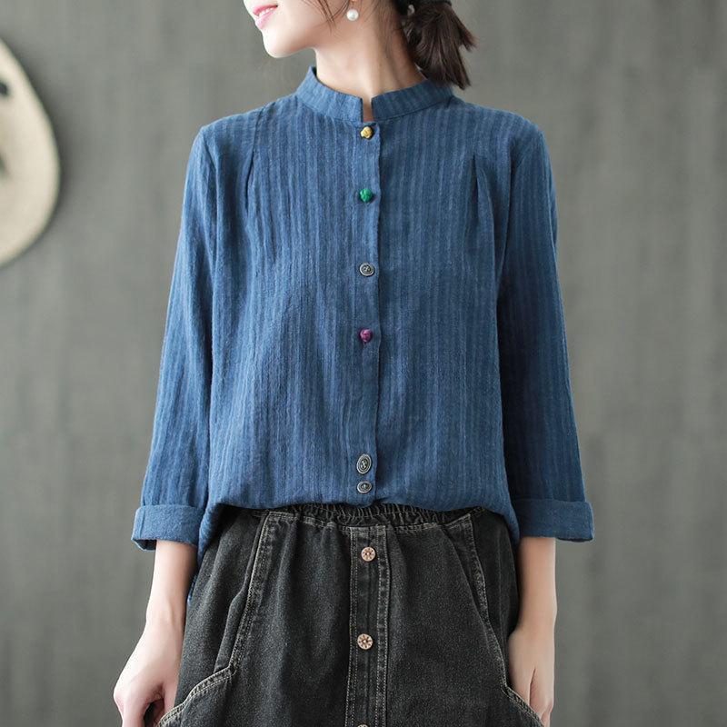 Johnature Camicie a righe Vintage Donna Top in lino stile cinese primavera camicette a maniche lunghe stand casual 2019 nuove donne panni J190614