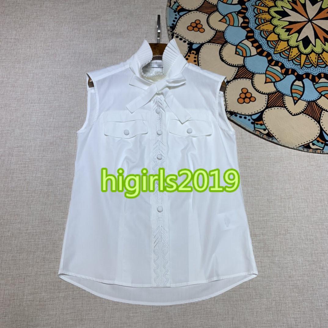 muchachas de las mujeres de gama alta camiseta tops mosaico patrón de bordado imprimir chaleco nueva camiseta de moda pie de cuello de un solo pecho sin mangas de