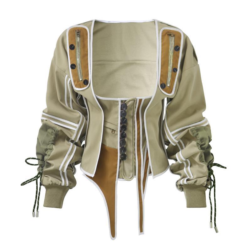 Winter modische Damenjacke Runway Tops grünen Mantel Windjacke Patchwork Baumwolle Armee unregelmäßige Vintage schnüren sich oben Korsett Jacke