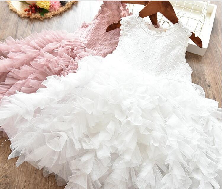 Frühlings-Mädchen-Brautjungfer White Pearl rosa Kleid Baby-Kleinkind-Kinder-Mode-Partei-Spitze-abgestuftes Tulle Hochzeit Prinzessin Partei Bekleidung Kleider