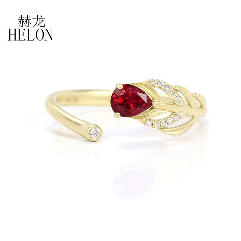 HELON Леди классические кольца твердые 18 карат желтого золота подлинная натуральный рубин бриллиантовое обручальное кольцо для женщин обручальное ювелирные изделия подарок