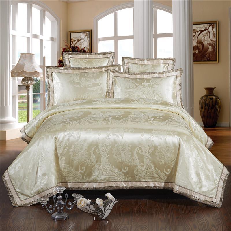 42 Beige ouro greympink cama Set nobre e elegante capa de edredão Tribute Silk Qualificado Lençois Rainha Rei 4 / 6pcs