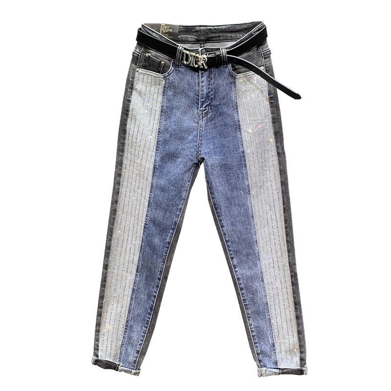 Jeans de cintura alta mujer Diamante costuras de algodón de longitud completa boyfriend jeans para mujeres