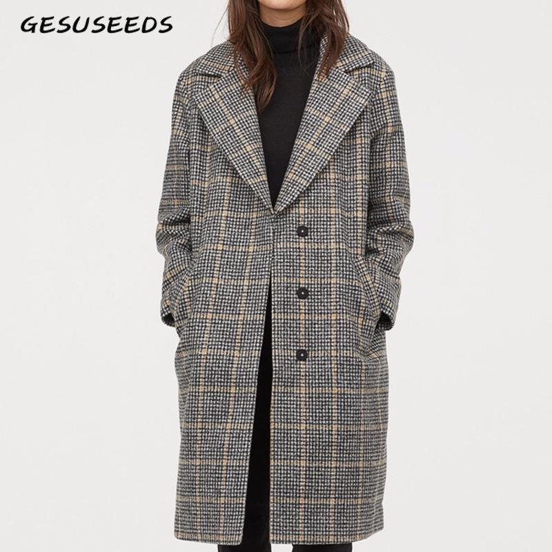 Women/'s Wool Tweed Houndstooth Check Long Jacket Collared Top Trench Coat