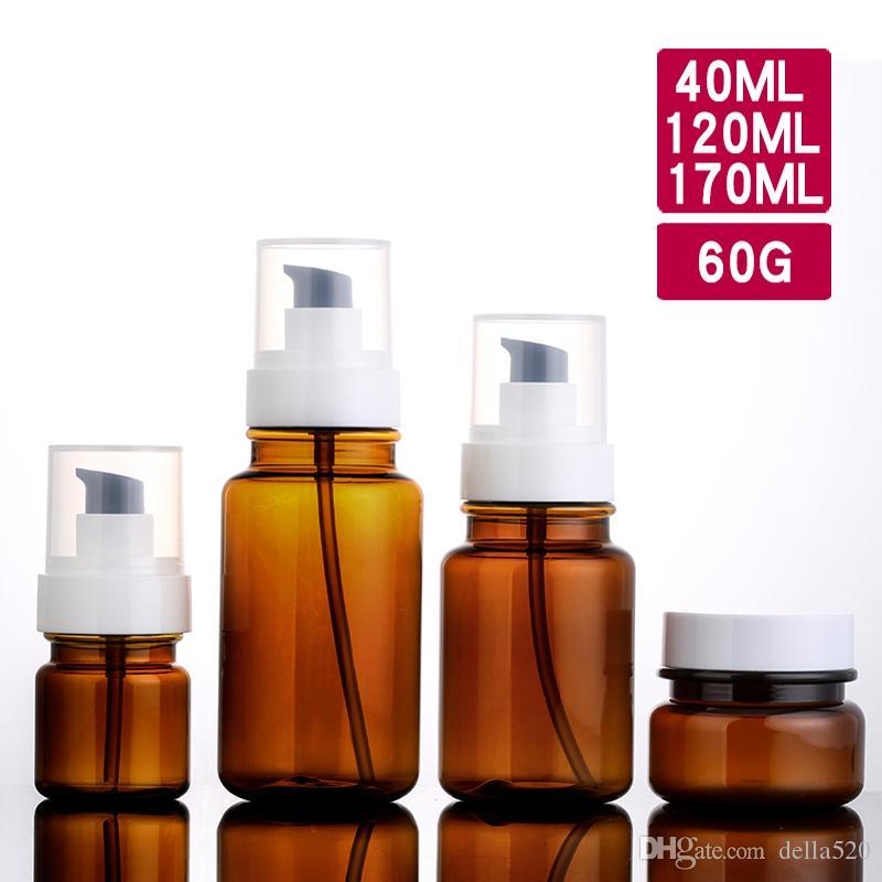30 adet 40 ml 120 ml 170 ml vakıf krem pompa kahverengi şişe Boş Amber PET şişeler Tedavi kap kalite contanier kozmetik set