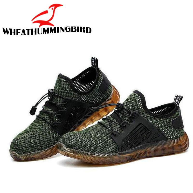 Men Steel Nose Safety Work Shoes grid Lightweight Breathable Reflective Casual Sneaker Prevent piercing Protective shoes A21-15