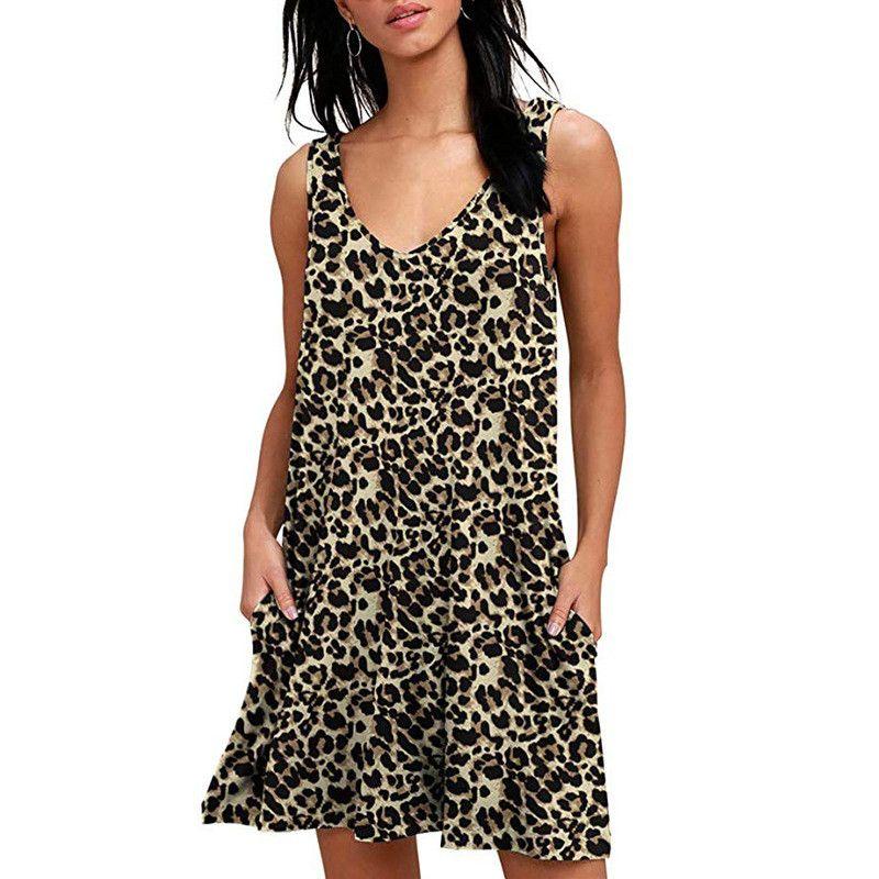 Las mujeres vestidos ocasionales de la falda sin mangas V cuello de leopardo imprimió el chaleco de bolsillo vestido de la playa Vestidos de fiesta para mujer ropa de la ropa S-2XL 8203