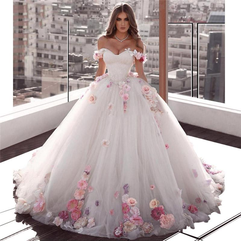 Off the Shoulder Ball Gown Wedding Dress 2019 Handmade Flowers Applique Puffy Middle East vestido de noiva bride dress