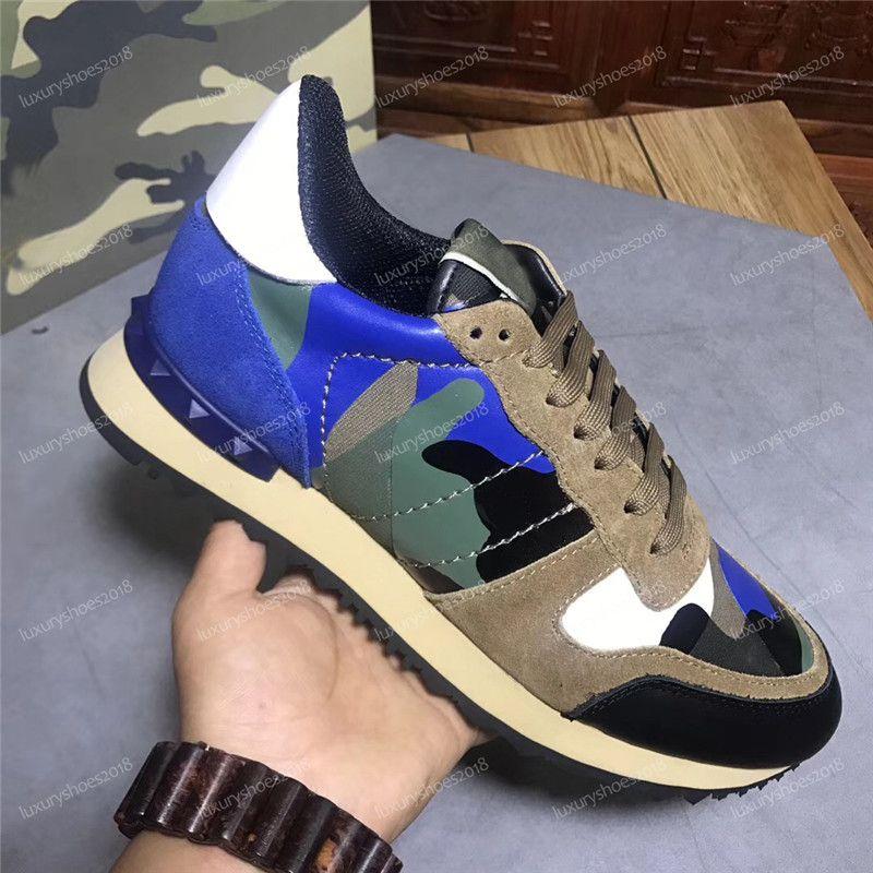 Di vendita calda di colore Camo scamosciata borchie camuffamento Roccia corridore della scarpa da tennis scarpe per scarpe delle donne degli uomini della vite prigioniera di lusso casuale Designer Scarpe Sneakers