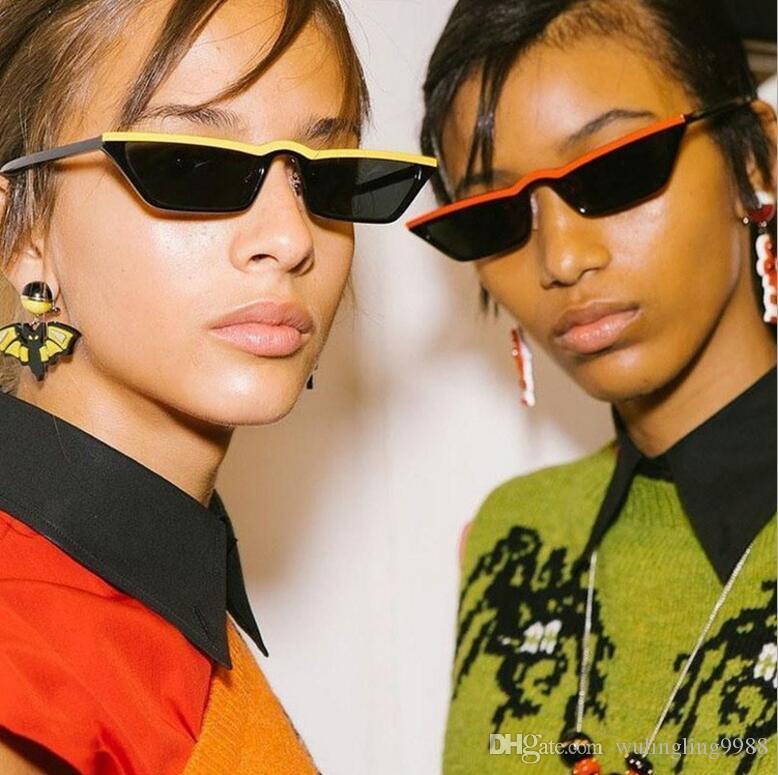 Occhiali da sole rettangolari da donna Vintage Skinny Narrow Leopard Frame 90S Chic Cat Eye Occhiali da sole Occhiali da sole