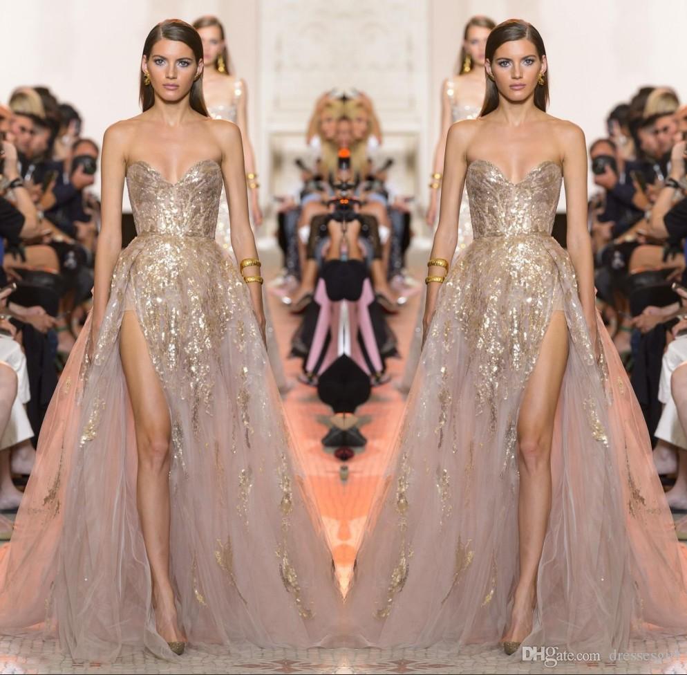 Seksi Altın Aplike A Hattı Gelinlik Sevgiliye Yüksek Yan Bölünmüş Akşam elbise Kadınlar Örgün Giyim Vestido