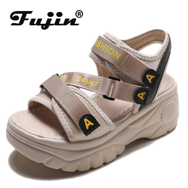 Fujin 2020 sapatas das sandálias plataforma mulheres verão fivela calcanhar casuais sandálias sapatos sandalias de verão grossas mujer CY200518 2020