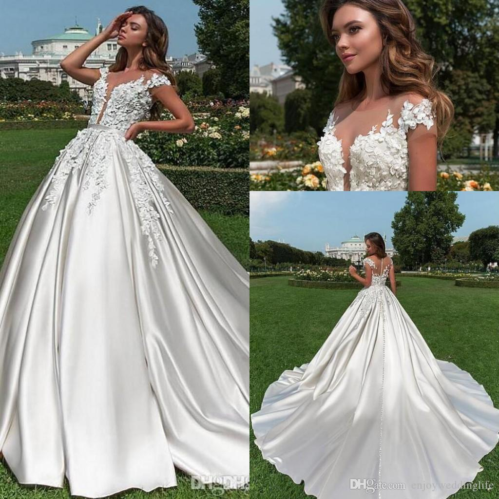 Elegant Country Style Short Sleeves Lace Wedding Dresses 2019 Summer Beach A Line Satin Lace Appliqued Bridal Gowns with Long Sweep Train