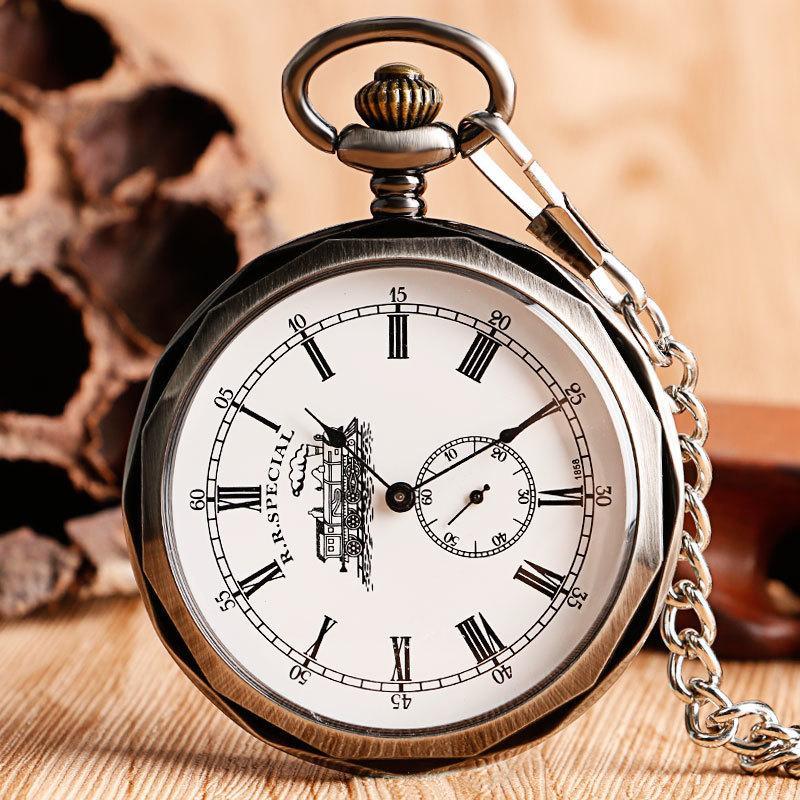 Luxury Open Face Train Big Dial Roman Numers Mechanical Skeleton Pocket Steampunk Hand Winding Watch Men Women Chain Gift C19010301