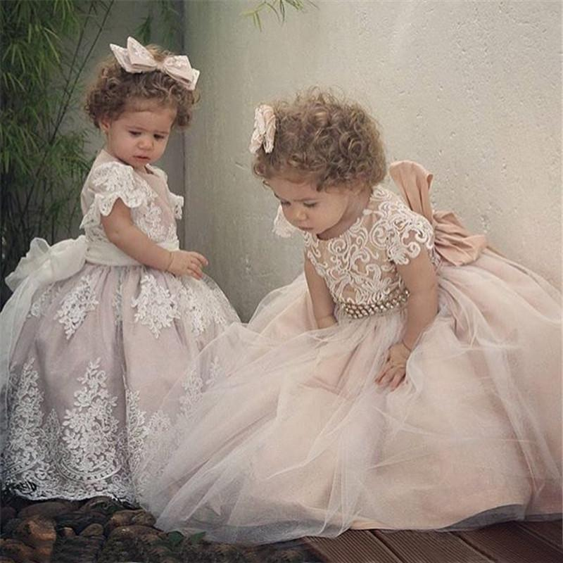 Custom Made Flower Girl Dresses for Wedding A-Line Princess Tutu Sequined Appliqued Lace Bow 2019 Vintage Child First Communion Dress
