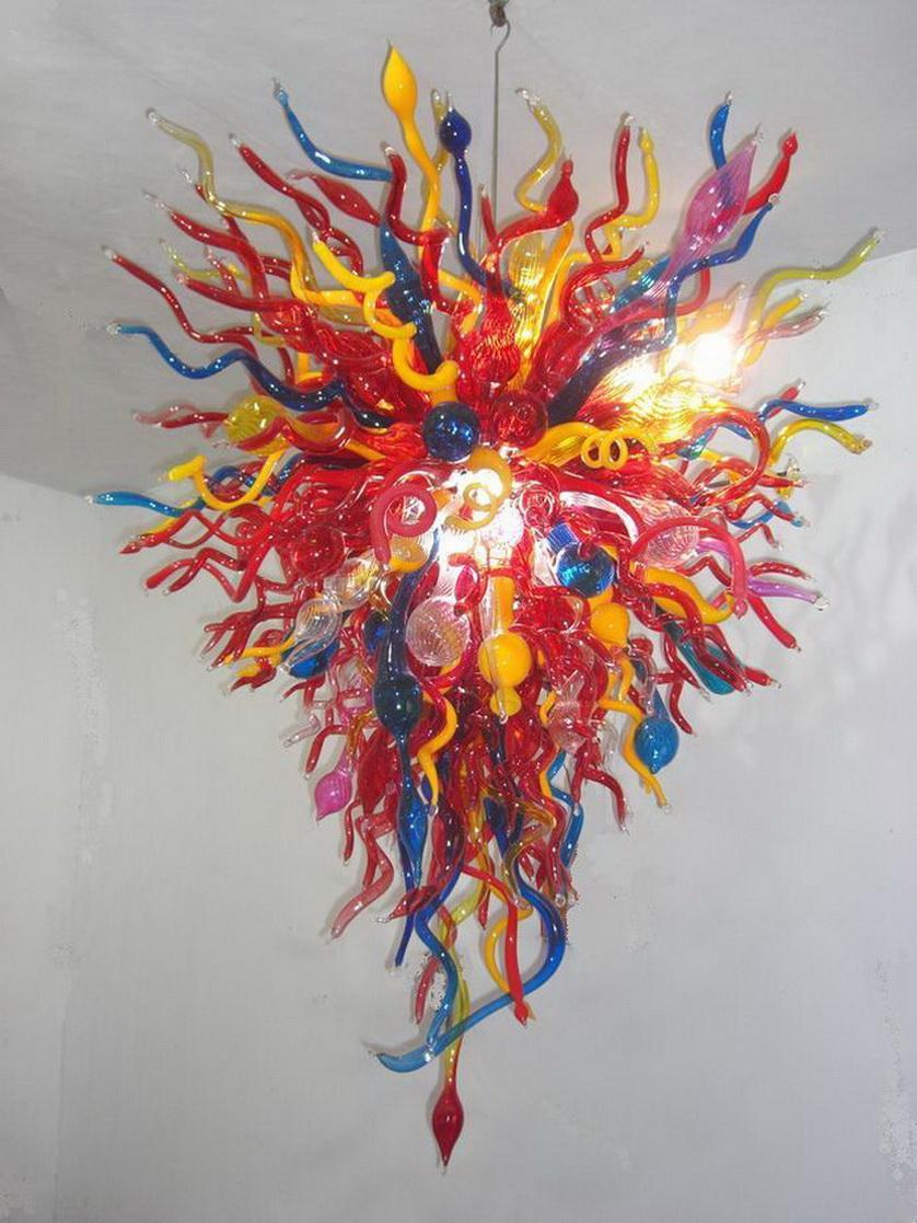 شحن مجاني فاخر كبيرة متعددة الألوان زجاج مورانو الثريا ضوء اللوبي تصميم الديكور حسنا الفن الثريا للبيع