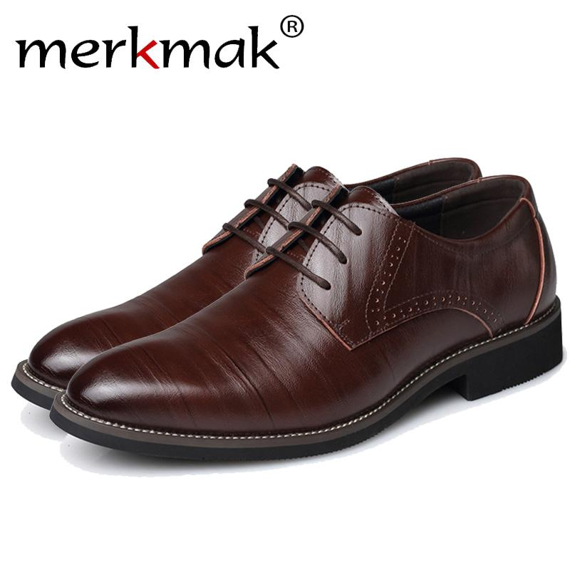 Merkmak Big Size 37-48 Oxfords Leather Men Shoes Fashion Casual Pointed Top Formal Business Male Wedding Dress Flats Wholesales