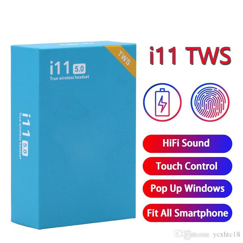 Controllo I11 TWS tocco auricolare Bluetooth auricolari 5.0 auricolari Mini Auricolari Wireless Headphones sportivo con finestra pop-up i11tws auricolare